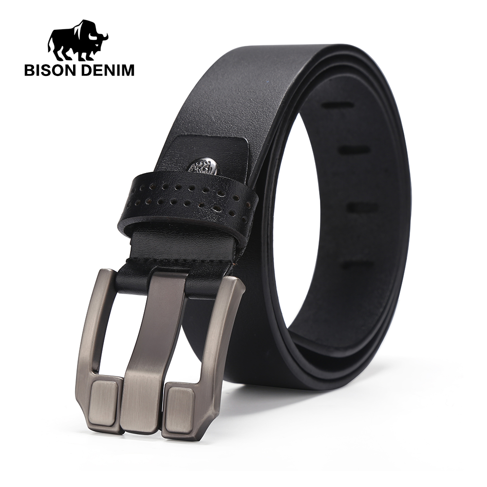 BISON DENIM Newly Fashion Men Balck Belt Casual Stylish Cowboy Genuine Leather Smooth Pin BuckleW71018