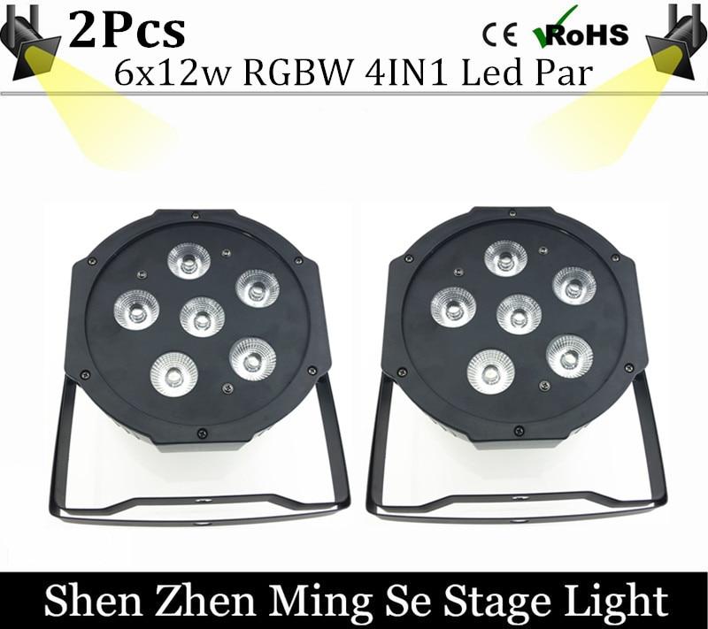 2units 6pcs 12w lamp beads 6x12W led Par lights RGBW 4in1 flat par led dmx512 disco lights professional stage dj equipment