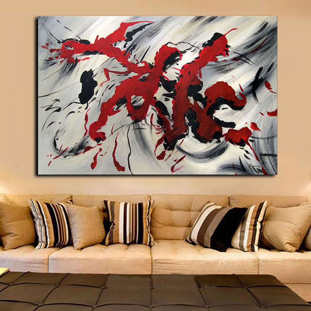 Modern Home Decor Wall Art Large Painting Inked Pictures Handpainted Abstract Graffiti Red Black Oil