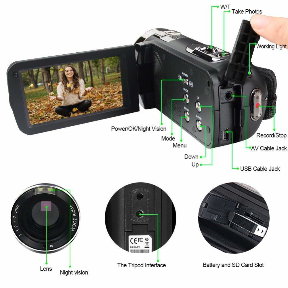 HTB1OQOMaELrK1Rjy0Fjq6zYXFXab 24MP 1080 HD Digital Camera Photo Camera Anti-Shake Camcorder Video CMOS Micro Camera Face Detection Function Cameras Digitais