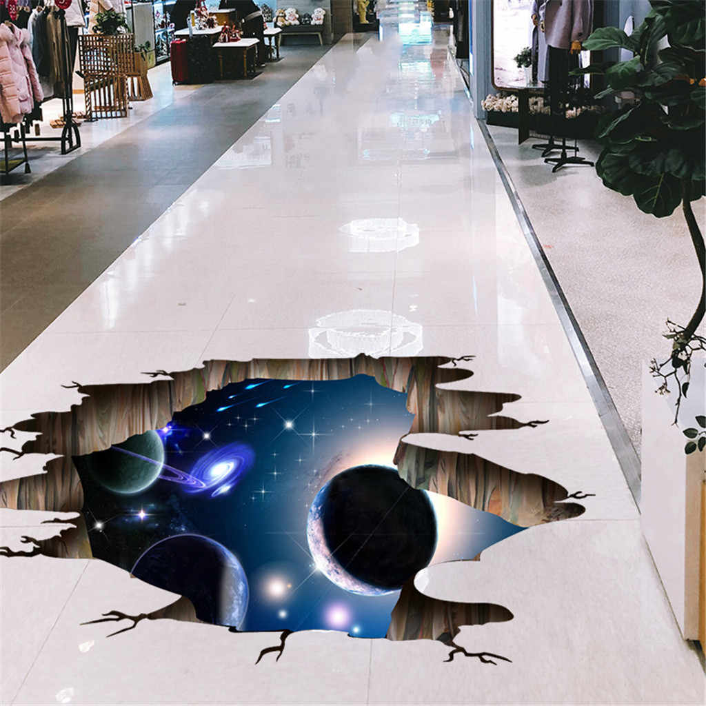 Creative 3D Broken Wall Universe Galaxy Wall Stickers Personality Waterproof Mural Living Room Bedroom Ceiling Floor Decoration