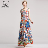 High Quality Boho Beach Maxi Dress Floor Women Elegant Holiday Sleeveless Tank Floral Print Casual Party