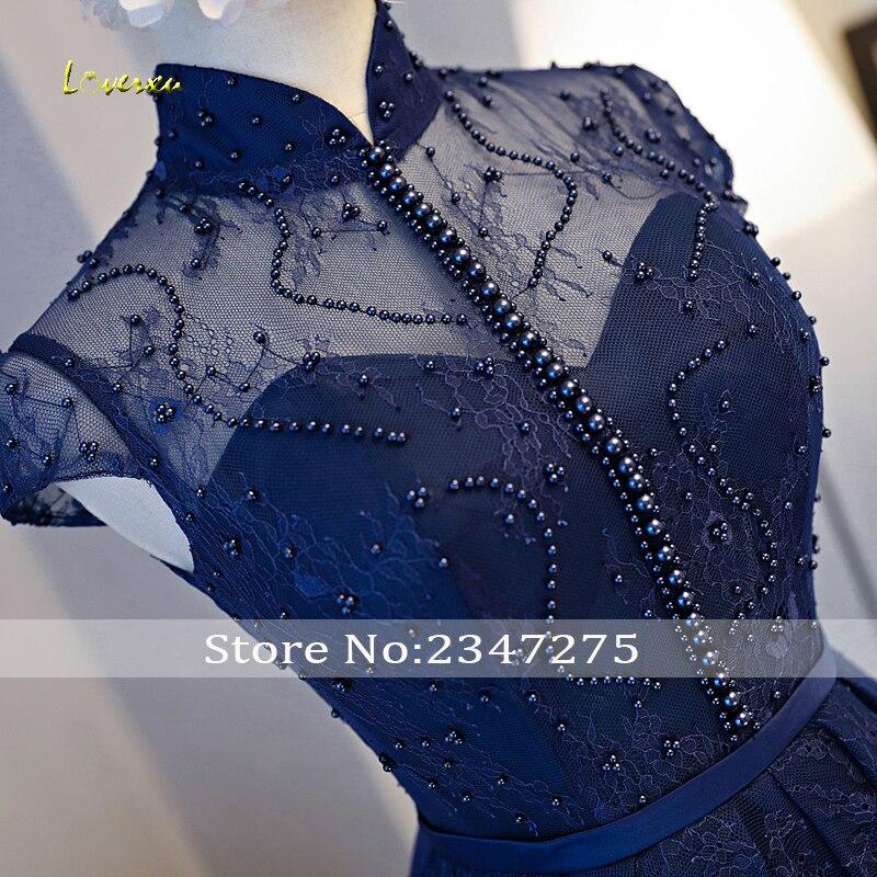 Loverxu magnifique col haut dentelle genou longueur robes de retour 2019 Appliques perlées a-ligne courte robe de Graduation pour la fête - 4