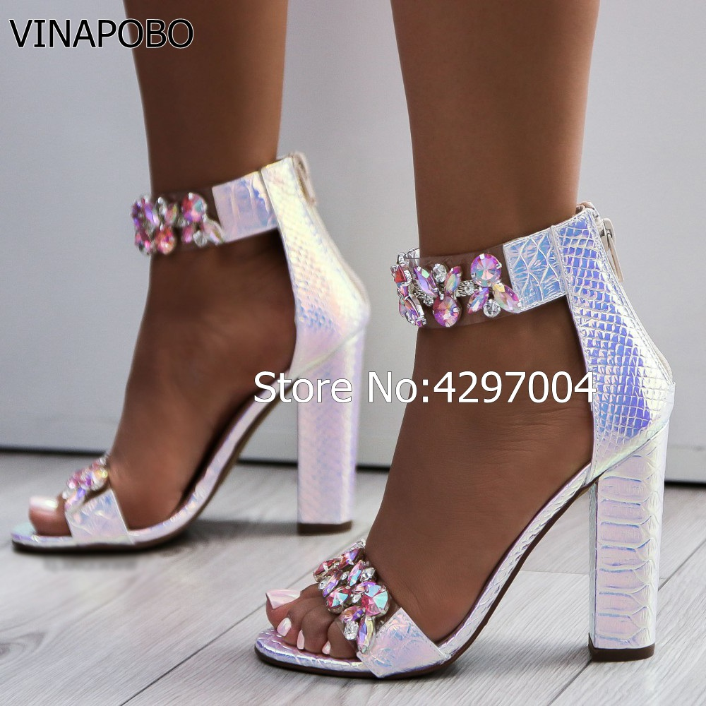 a76d320028a5 ... Woman shoes Block Heels Heel Sandals Rhinestone Sandals Luxury Crystal  2018 Chunky Thick Women VINAPOBO Sexy ...