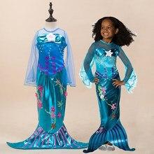 4cc6ae433e6c The little mermaid tail principessa ariel dress cosplay costume di  halloween per i bambini delle neonate carnaval abiti fantasia.