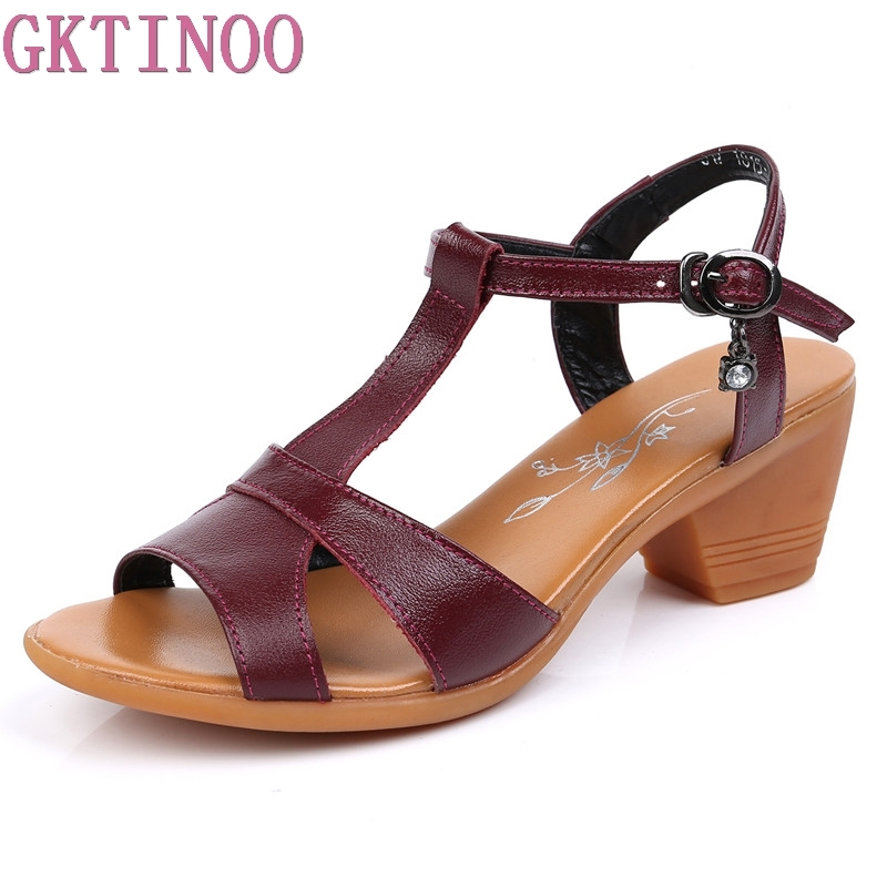 GKTINOO 2018 New Genuine Leather High Heels Gladiator Sandals Women Summer Open Toe Ladies Shoes Plus Size 34-43 gktinoo summer shoes woman genuine leather sandals open toe women shoes slip on wedges platform sandals women plus size 34 43