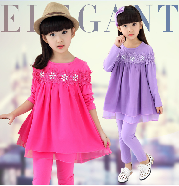 Autumn New Pattern Girl Pure Cotton Suit Children Twinset Girl Autumn Long Sleeve 2 Pieces Kids Clothing Sets new pattern children s garment autumn winter thickening down suit korean girl twinset 2 pieces kids clothing sets suits