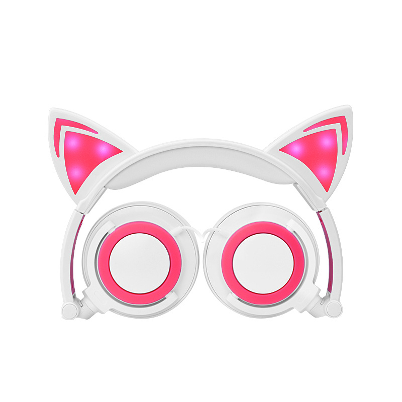 Cat Ear Headphones with LED Light Cat Ear Gaming Headset for Girls Children Foldable Flashing Glowing Gaming Earphones for Phone