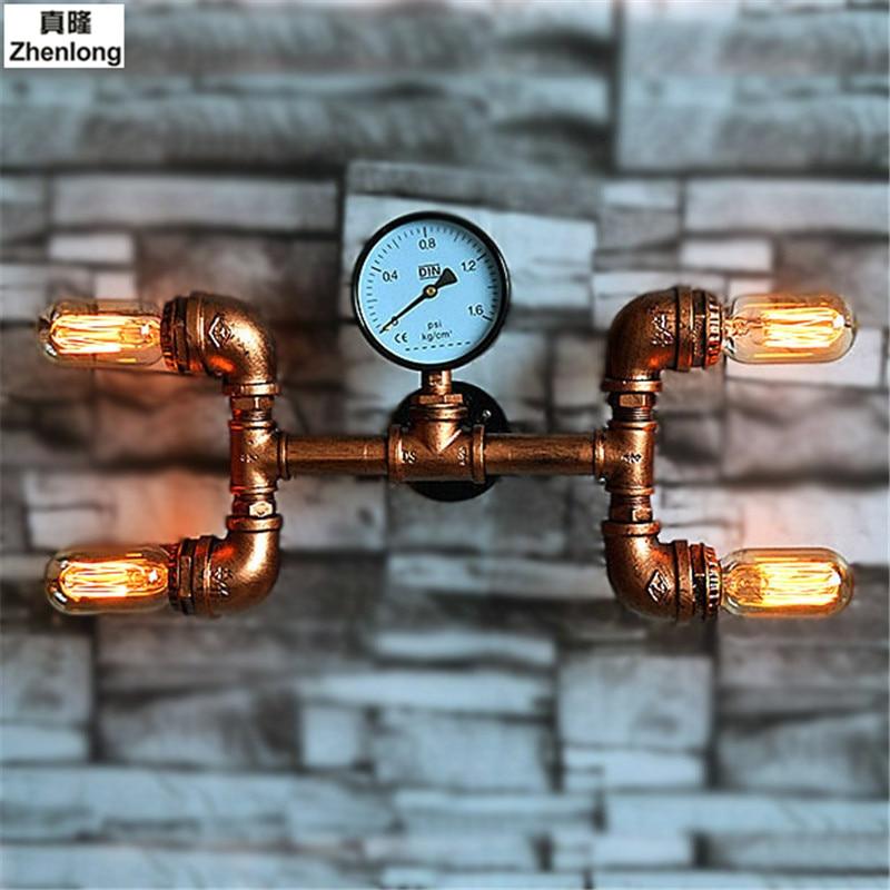 Vermetel Creativiteit Vintage Iron Art Water Buis Licht Bar Restaurant Industriële Stijl Decoratie Wandlamp Led Home Verlichting E27 Led Lamp Tegen Elke Prijs