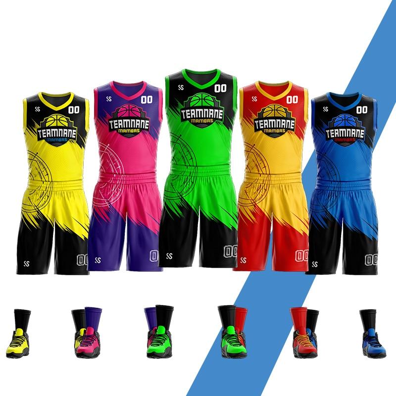 カスタムアダルトユースバスケットボールユニフォームセットスポーツウェアトレーニングシャツバスケットボールジャージとショーツ昇華印刷 バスケットボールセット    -