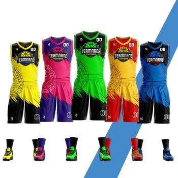 Custom Adult Youth Basketball uniform Set Sportswear Training Shirts Basketball Jersey and Shorts sublimation printing фото
