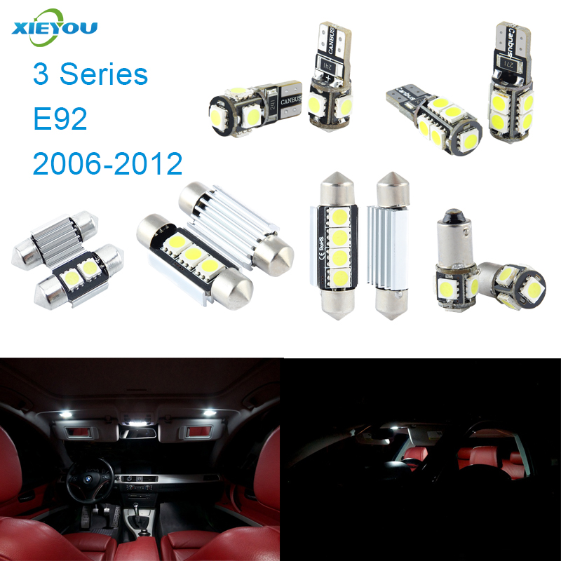 XIEYOU 14pcs LED Canbus Interior Lights Kit Package For BMW 3 Series E92 (2006-2012) 17pcs led canbus interior lights kit package for bmw 5 series e60 e61 2004 2010