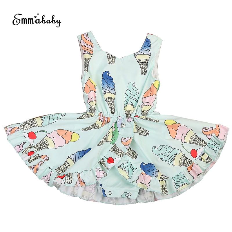 Emmababy Lovely Newborn Toddler Kids Baby Girl Floral Dress Sleeveless V-neck Ice Cream Print Tutu Romper Jumper Pageant Dresses random floral print v neck sleeveless irregular hem dresses