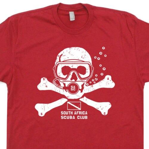 2018 New Fashion Men T Shirt Free Shipping Scuba Dive T Shirt Africa Dive Mask Team Zissou Flag Tank Fins Skull T Shirts