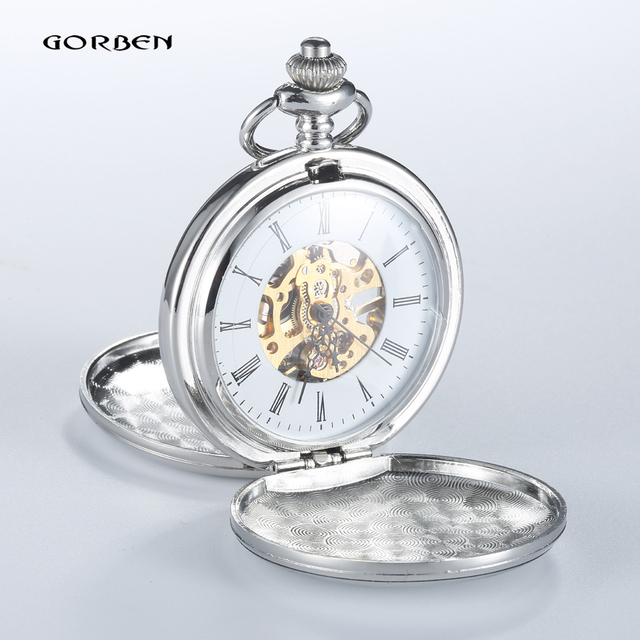 2016 Vintage Silver Smooth Analog Steampunk Mechanical Pocket Watch Roman Num Waist Chain 2 Side Open Men's Pocket Watches P405