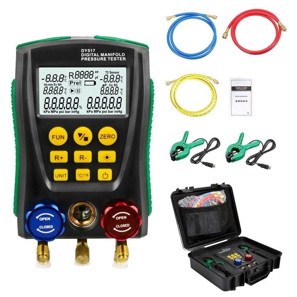 DY517A Pressure Gauge Set Refrigeration Digital Vacuum Pressure Manifold Tester Meter HVAC Temperature Tester Valve Tool Kit Pressure Gauges     - title=