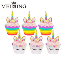 MEIDDING-24pcs Birthday Decoration Unicorn Party (12pcs Cupcake Wrappers +12pcs Cake Topper) for Baby Shower Party Cake Decor