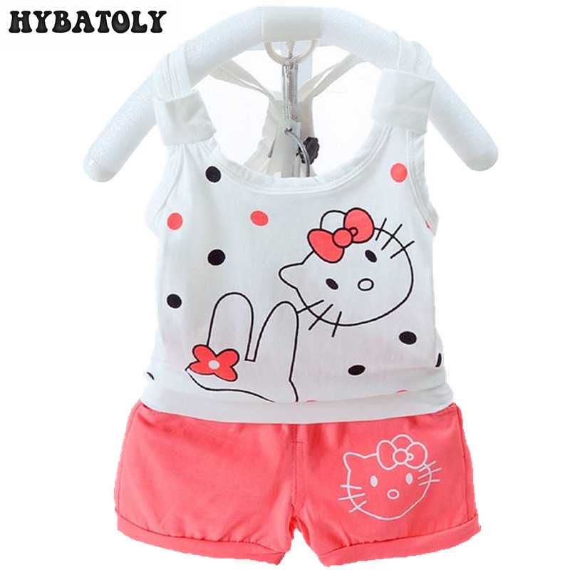 Baby girls clothing Sets 2017 Cartoon infant Summer Style Top+Shorts 0-3 year kids Sleeveless Set Dot Children girl Clothes Sets