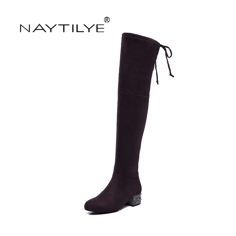 NAYTILYE New stretch Fabric Over-the-Knee high boots shoes woman square heels round toe spring autumn black green 35-40 size