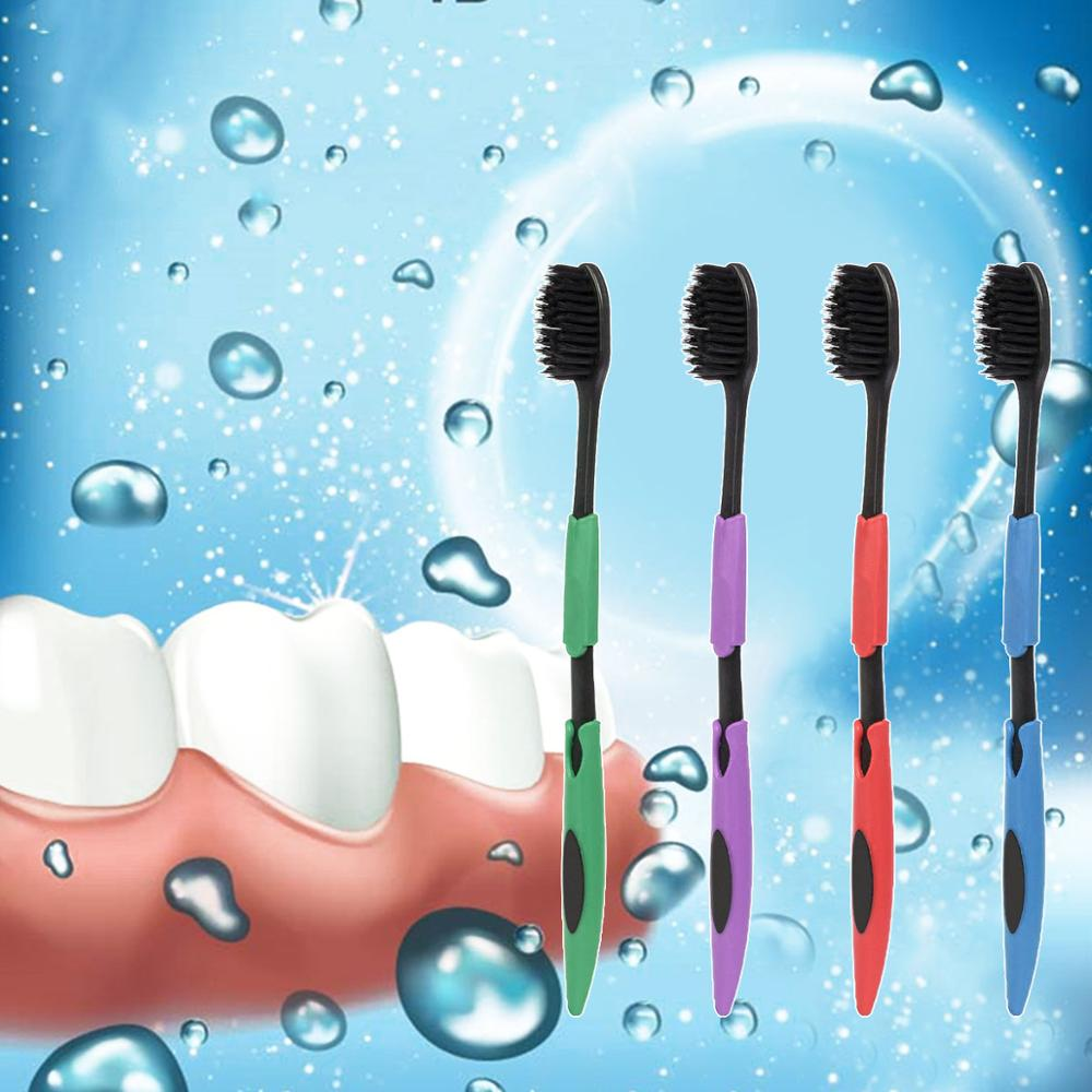 1PC Health Oral Hygiene <font><b>Double</b></font> <font><b>Ultra</b></font> Soft Toothbrush Bamboo Charcoal Nano Brush Clean Care Oral Health Charcoal Toothbrush image