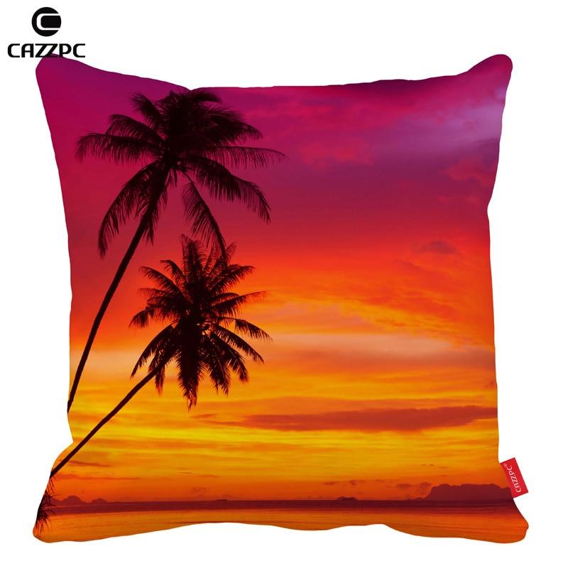 Summer Palm Trees Sunset Tropical Beach Car Decorative Throw Pillowcase Pillow Cases Cushion Covers Sofa Chair Home Decor In Cover From