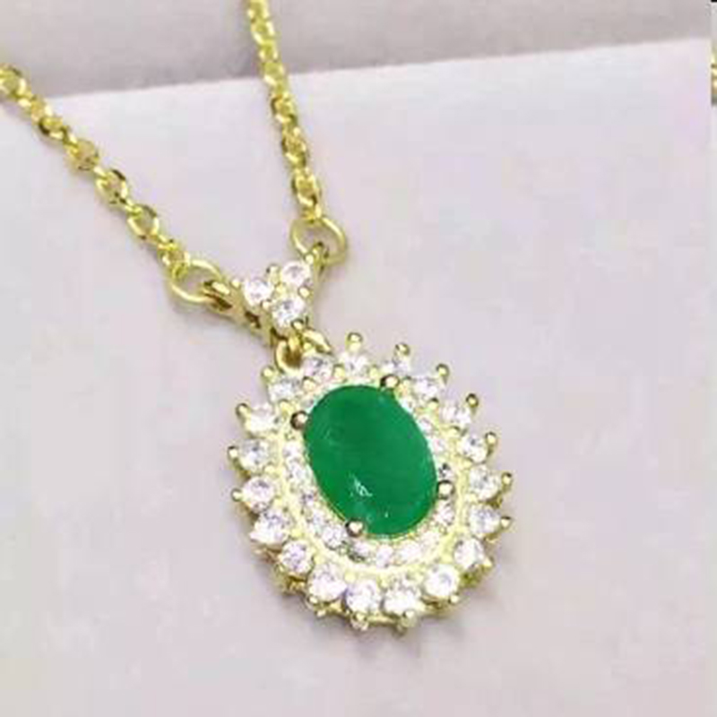 Collier Qi Xuan_Fashion Jewelry_Colombian Green Stone Fashion Necklaces_S925 Solid Pendant Necklaces_Factory Directly Sales Collier Qi Xuan_Fashion Jewelry_Colombian Green Stone Fashion Necklaces_S925 Solid Pendant Necklaces_Factory Directly Sales