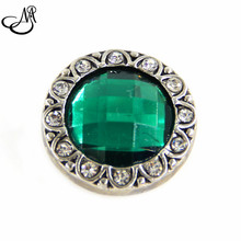 May Birthstone snap button Dark Green Rhinestone &clear crystal snap button charms fit 18mm snap button jewelry SB2375