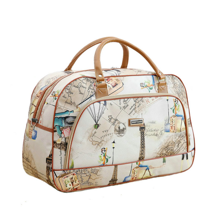 Women Travel Bags 2019 New Fashion PU Leather Large Capacity Waterproof Print Luggage Duffle Bag Men Casual Travel Bags LGX28