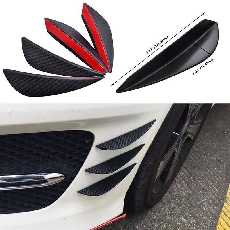 4pcs Car Body Spoiler Canards Valence Chin Fit Front Bumper Lip Splitter Fins