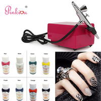 Airbrush For Nails Art Aerograph Compressor Kit Nail Makeup Cosmetics With 8 Colors Painting Pigments 1 Air brush Stencil