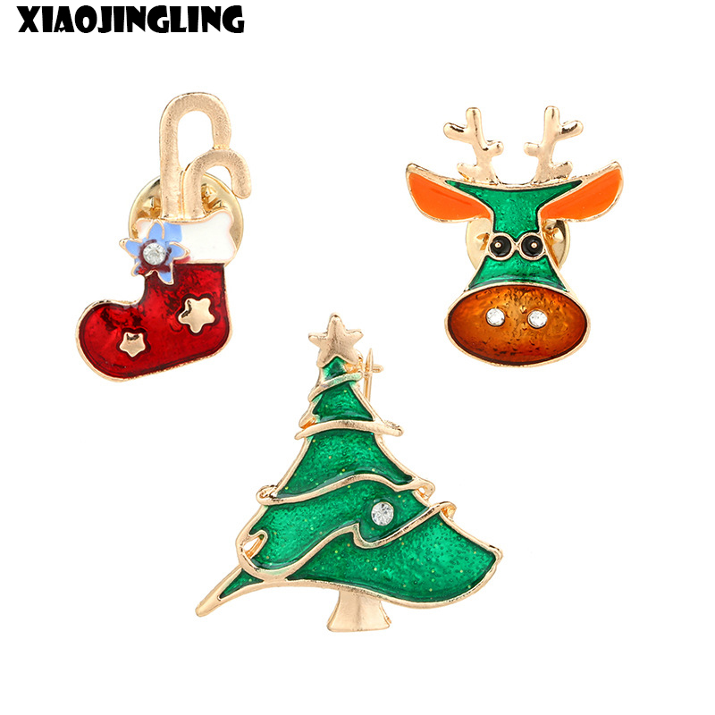 XIAOJINGLING Christmas Brooches For Women Stocking Deer Xmas Tree Pendant Brooch Pins Trendy Women Jewelry Xmas Gift For Child