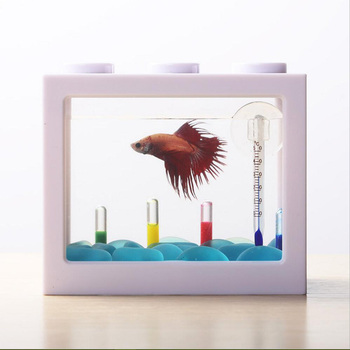 Mini Creative Acrylic Desktop Fish Tank Decoration Small Aquarium Ecological Cylinder Mini Fish Bowl Aquarium Decoration