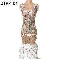 New Lấp Lánh Bạc Thạch Feather Đuôi Lưới Khỏa Thân Dress Big Đá Nữ Bữa Tiệc Sinh Nhật của Mặc Hộp Đêm Trình Diễn Trang Phục Sexy