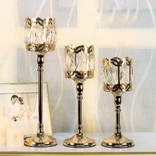 цена на European Crystal candle holder candelabros decorativos de velas gold candle holders wedding centerpieces candlestick home decor