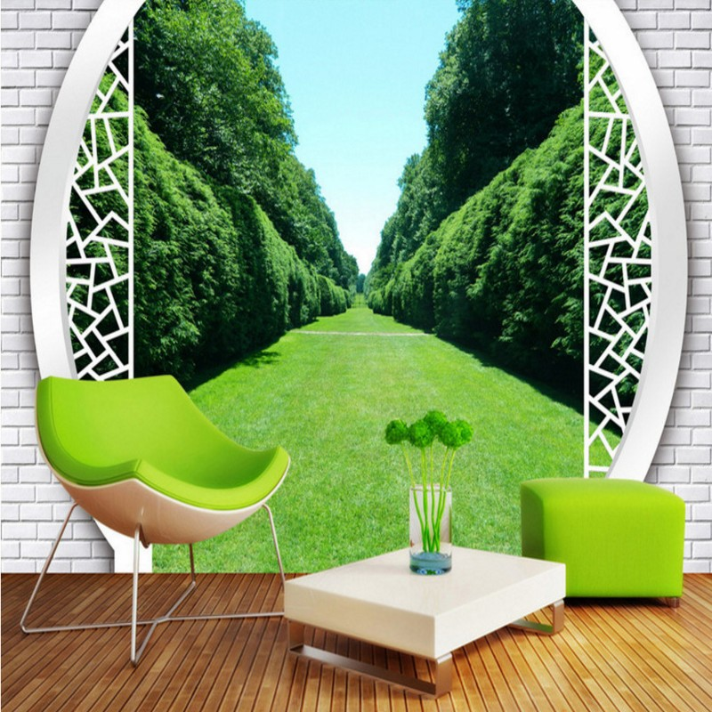 Free Shipping Forest Park 3D Landscape Background Wallpaper Mural Balcony Living Room Bedroom Home Decoration Bathroom