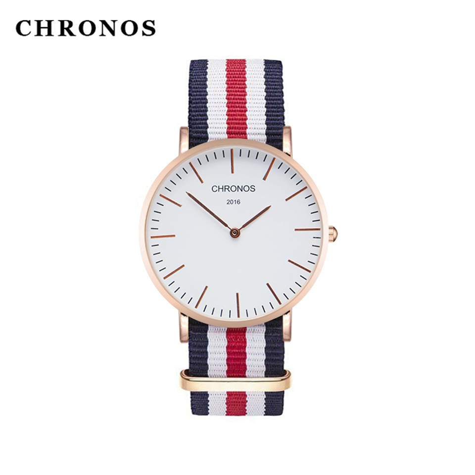 Hot Sale CHRONOS New Lovers' Quartz Watch Women Men Nylon Strap Fashion Clock Simple Couple Watches Relogio Masculino Feminino relogio masculino unisex fashion watch men women lovers couple watches pu leather quartz wrist watch levert dropship d1221
