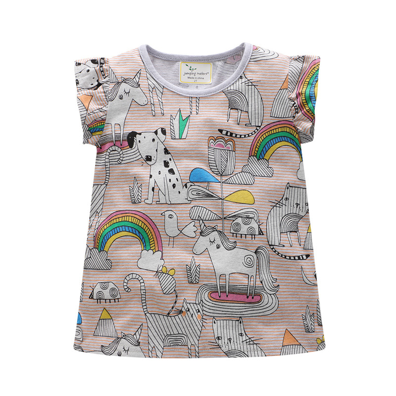 Jumping meters New tees tops short sleeves summer t shirts kids cute cartoon t shirt with printed unicorn girls cotton clothing