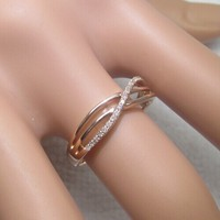 Anniversary Band Solid 14k Rose Gold Engaement Wedding Pave Natural Diamond Real Ring
