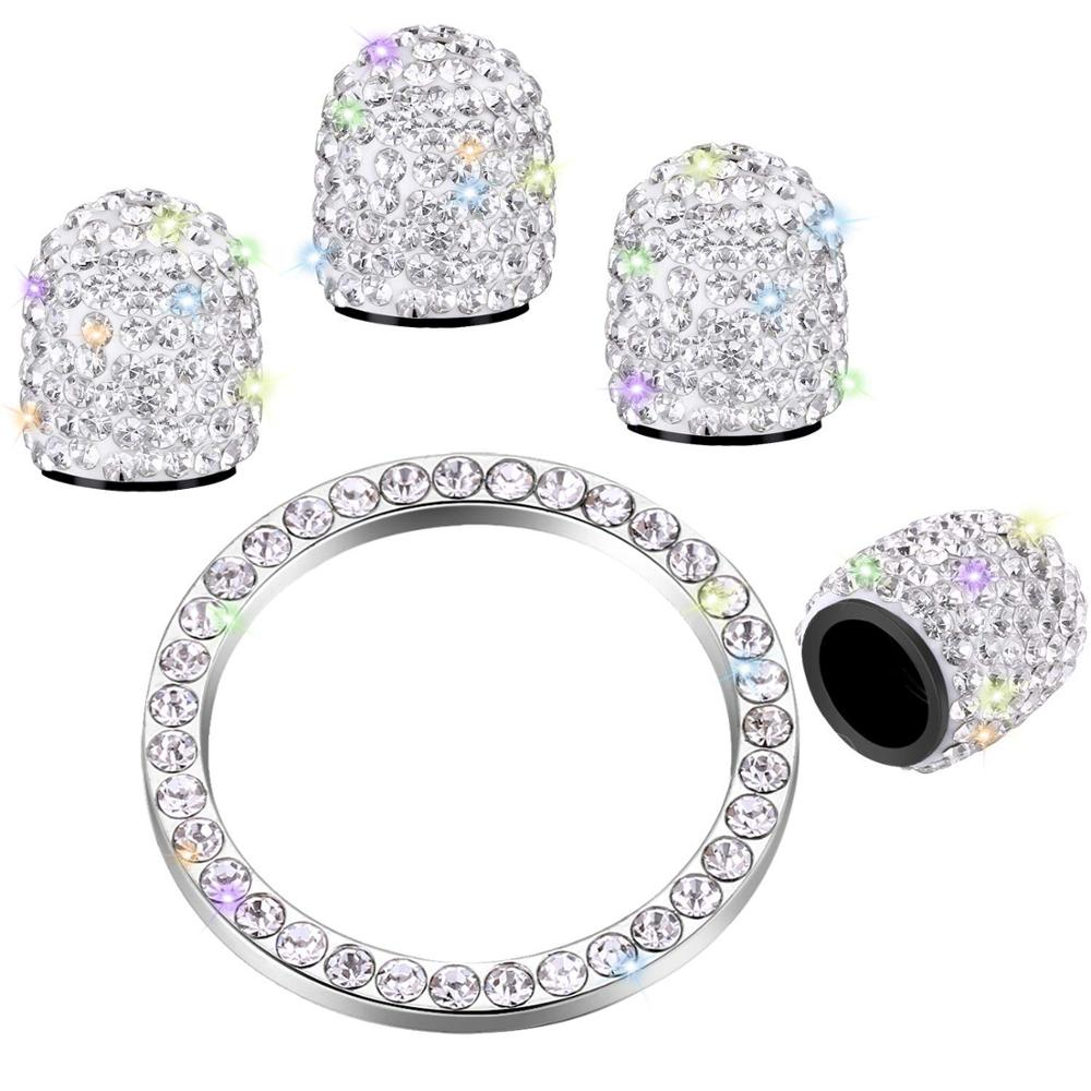 4 Pcs Valve Stem Caps Crystal Rhinestone Universal Tire Valve Dust Caps Bling Car Accessories With 1Pcs Ring Emblem Sticker