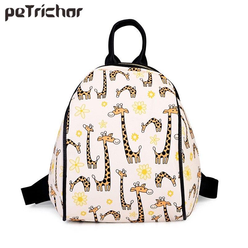 Petrichor 청소년을위한 새 인쇄 배낭 학교 가방 PU 가죽 브랜드 디자이너 지퍼 여성 배낭 여자 가방