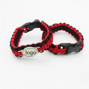 Image 2 - Custom baseball Football Paracord Survival Outdoor Camping Sports Bracelet Friendship Rope 550 7 Bracelets For Women Men Jewelry