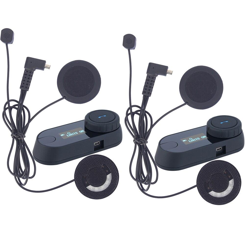 2 stücke Bluetooth Motorrad Helm Intercom Motorrad Sprech Helm Headset lcd-bildschirm FM Radio + Soft Kopfhörer