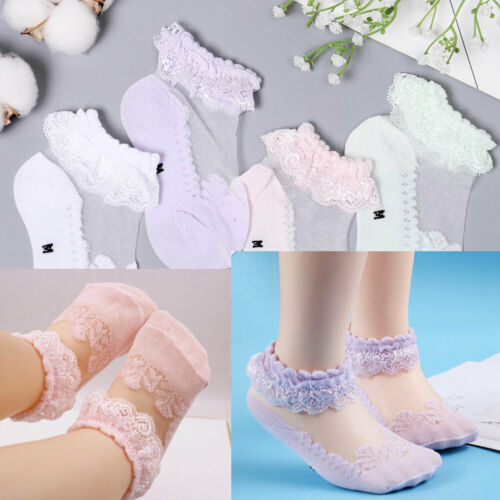 Lace Girls Baby Princess Kids Ankle Socks Frilly Infant Girl Toddler Pink White Socks