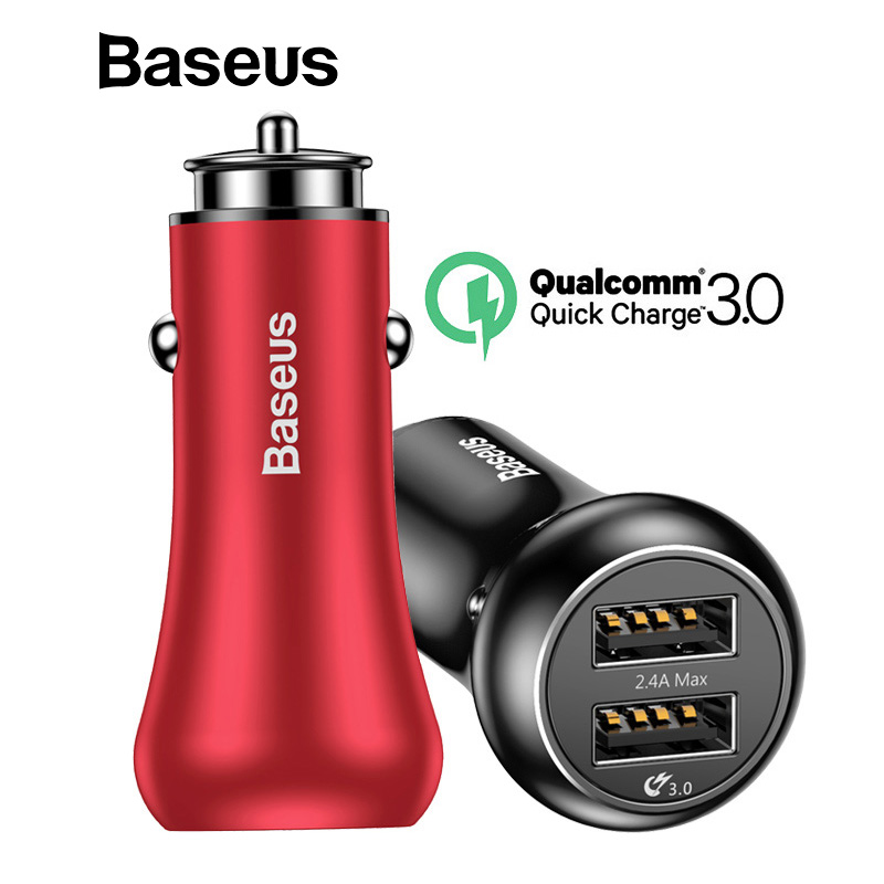 Baseus Quick Charge QC 3,0 cargador de coche para iPhone Samsung Tablet PC Dual USB cargador de teléfono móvil 5 V 3A cargador rápido Car-cargador