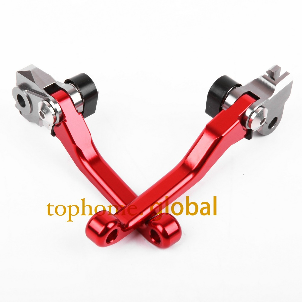 CNC Pivot Racing Red Brake Clutch Levers for Honda CRF 450R 2007-2017 CRF 250R dirt bike off roads  one pair 11 12 13 14 15 16 cnc pivot brake clutch levers for honda crf250r crf450r 07 15 crf motocross enduro supermoto dirt bike racing offroad motorcycle