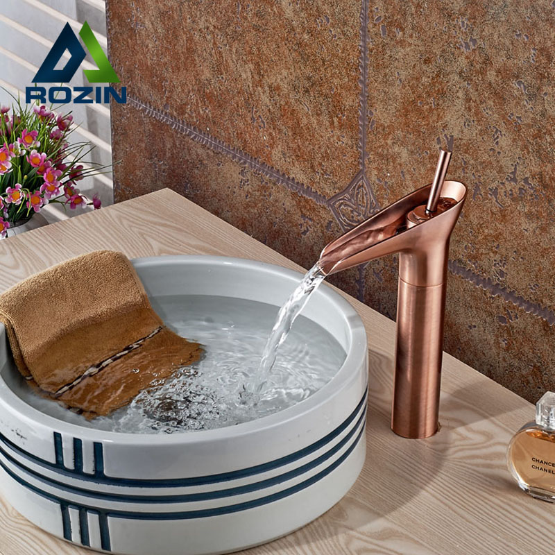 цена на Deck Mount Waterfall Single Lever Basin Sink Faucet Deck Mount Bathroom Mixer Taps with Hot Cold Water