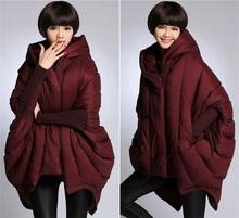 Plus size women clothing thick loose big A word skirt hem hooded long warm winter 90% white duck down jacke bat down jacket
