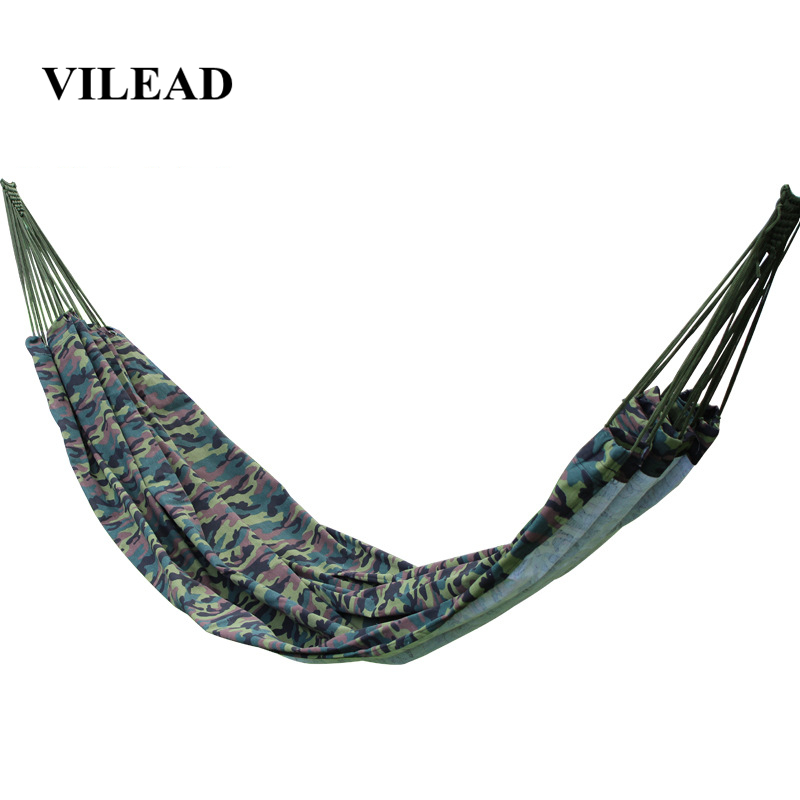 VILEAD Strong Outdoor Camping Hammock Hang Bed Portable Travel Camping Cot Hiking Swing Canvas Stripe Hang Bed Furniture Hammock-in Camping Cots from Sports & Entertainment