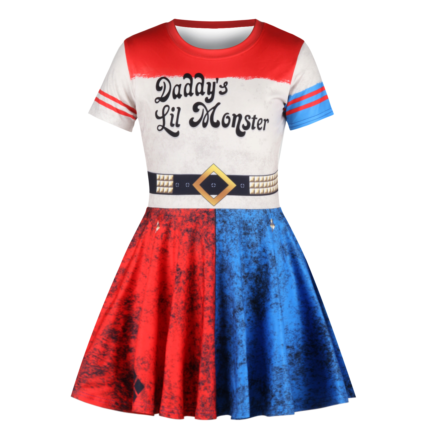Harley Quinn Dress Clown Cosplay Suicide Squad 3D Print Girls Dress Kids Children Costume Cute Party Princess Dresses Vestidos in Dresses from Mother Kids