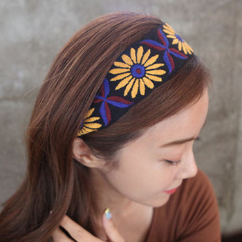 Bohemia Embroidery Knot Headbands For Women Ethnic Style Hair Accessories Bows Flower Crown Fahion Hairbands Head Wrap Hair Band plaid knot headbands for women lace headband korea hair accessories hair band flower crown hairbands head wrap